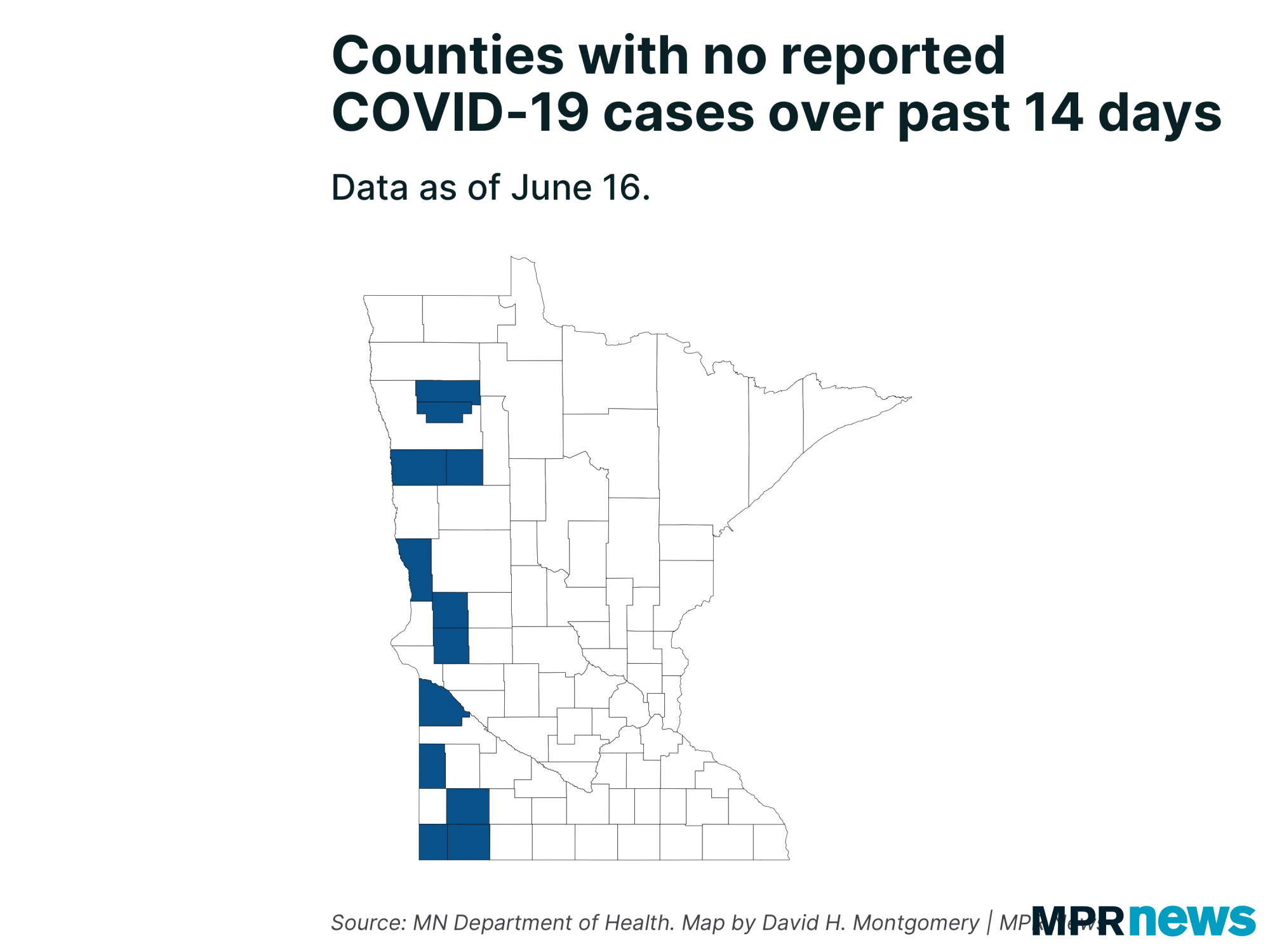 Counties with no reported COVID-19 cases over the past 14 days