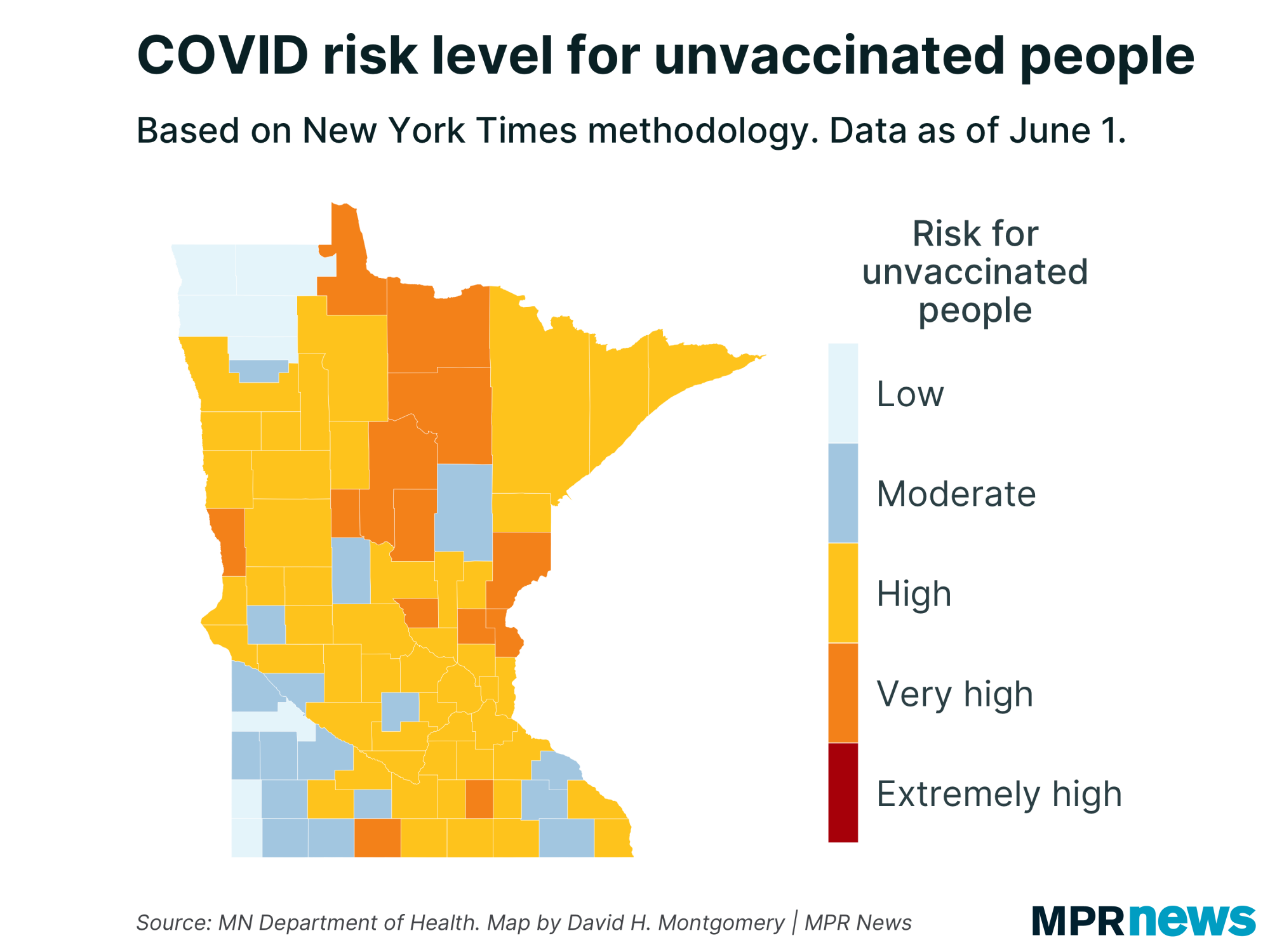COVID-19 risk level for unvaccinated people